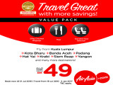 Travel Great with AirAsia Flights from RM49